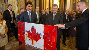 Флаг Канады с цветами украинского флага  - фото 1