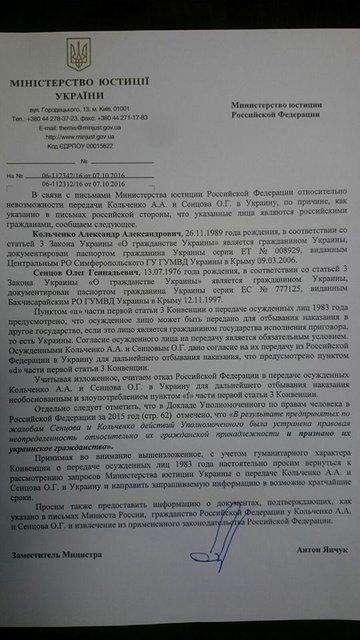 Украина требует доказательств получения Сенцовым и Кольченко российских паспортов - фото 19215