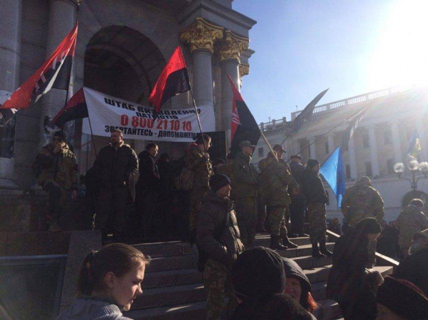 """ОУН и добробаты провели на Майдане """"вече"""" в поддержку блокады ОРДЛО - фото 35059"""