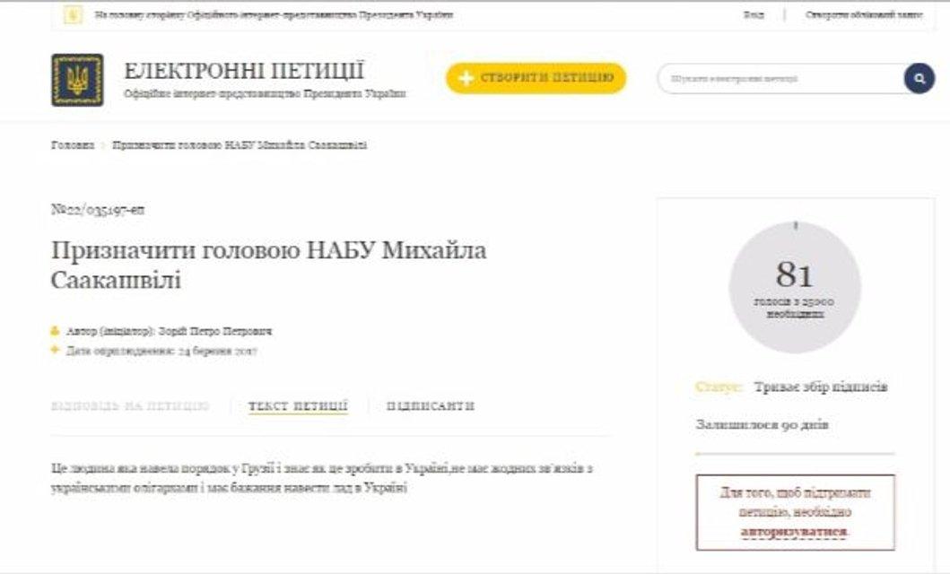 Петиция о назначении Саакашвили руководителем НАБУ - фото 39984