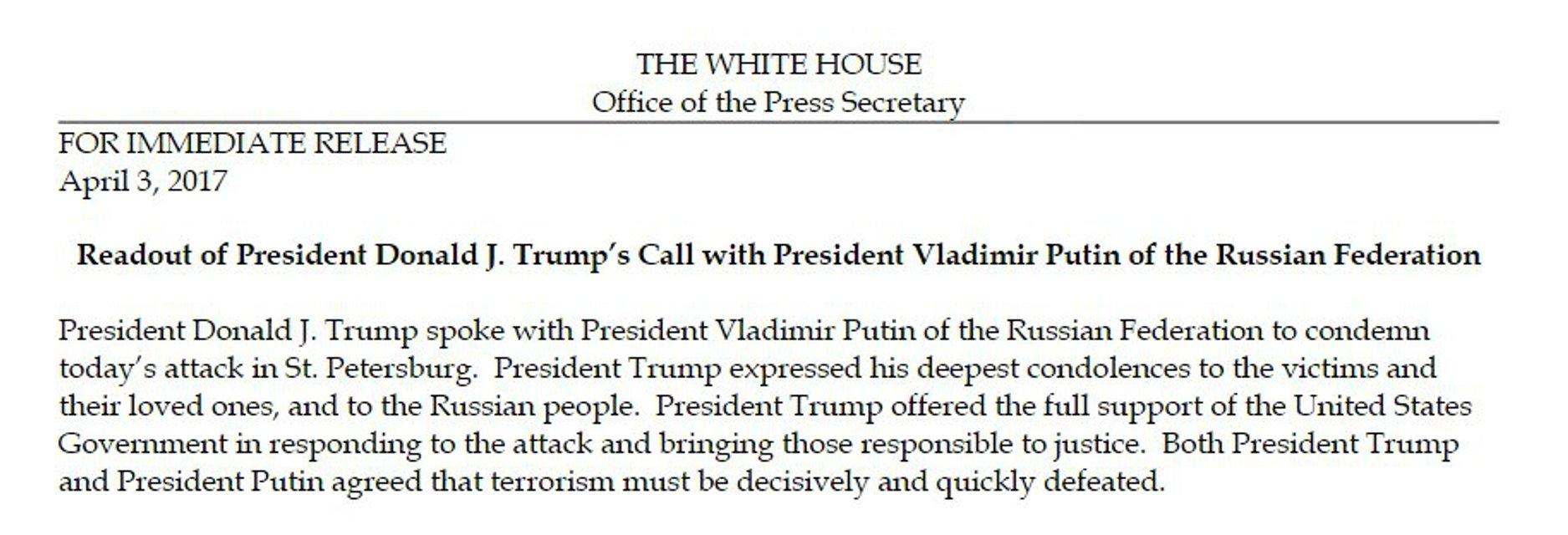 Теракт в Санкт-Петербурге: Трамп предложил Путину помощь в расследовании - фото 41041