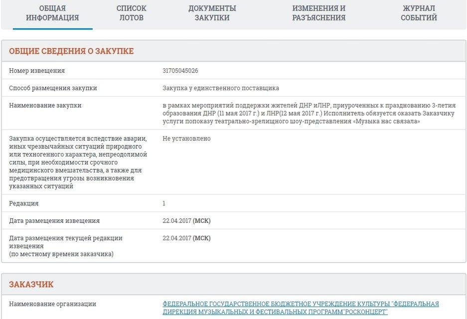 """Официальная закупка: Россия выделила деньги на концерты в """"ДНР"""" и """"ЛНР"""" - фото 43668"""