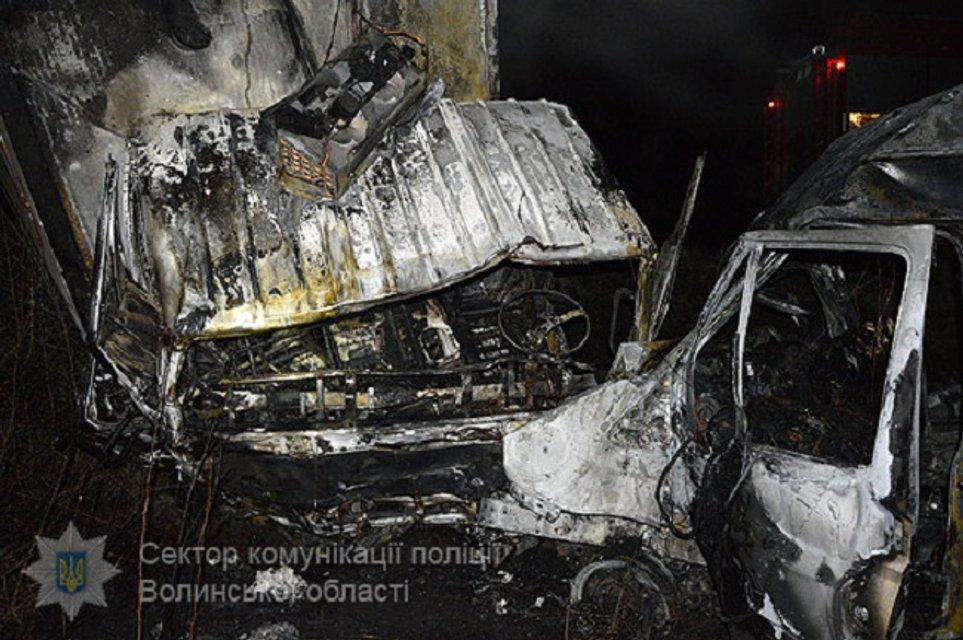 В Волынской области микроавтобус врезался в грузовик и загорелся: погибли отец и сын - фото 41696