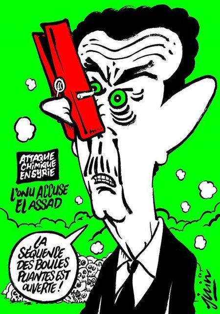 Charlie Hebdo создал карикатуру на Асада и химатаку в Сирии - фото 41558