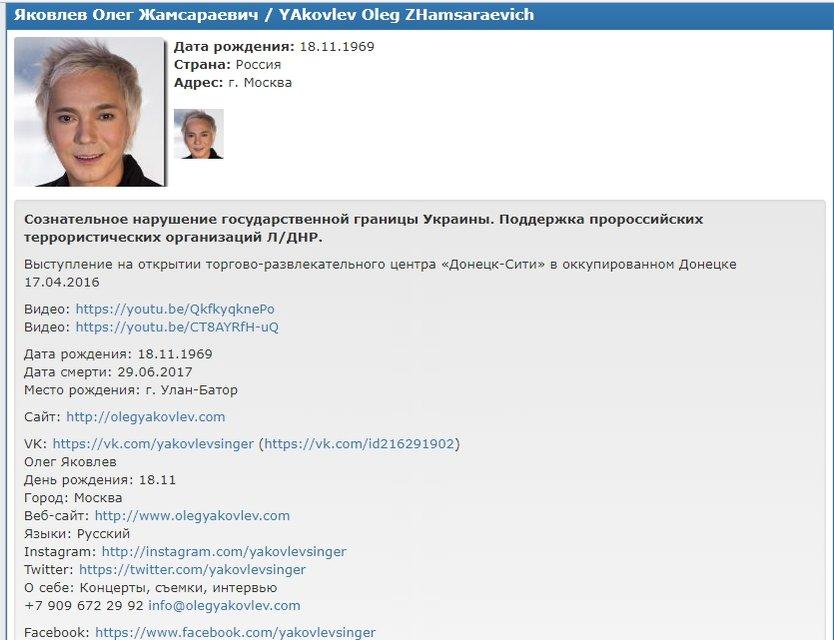 Олег Яковлев был в списке Миротворца - фото 54655