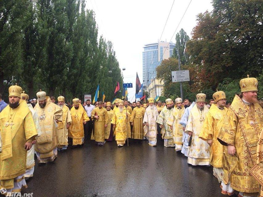 День крещения Руси 2017: В столице прошел крестный ход УПЦ КП с ветеранами АТО (фото) - фото 61637