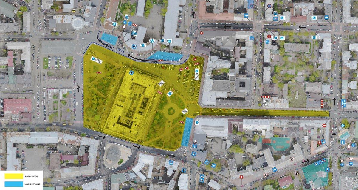 желтое - пешеходная зона; синее - парковка - фото 60794