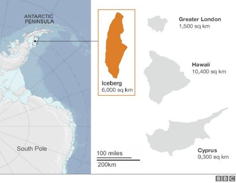 Размер айсберга, который оторвался от ледника - фото 57378