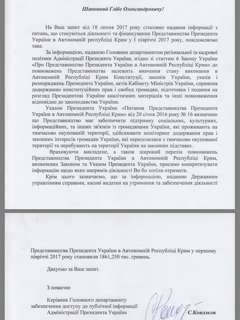 На представительство президента в Крыму потратили почти 2 млн за полгода - фото 60398