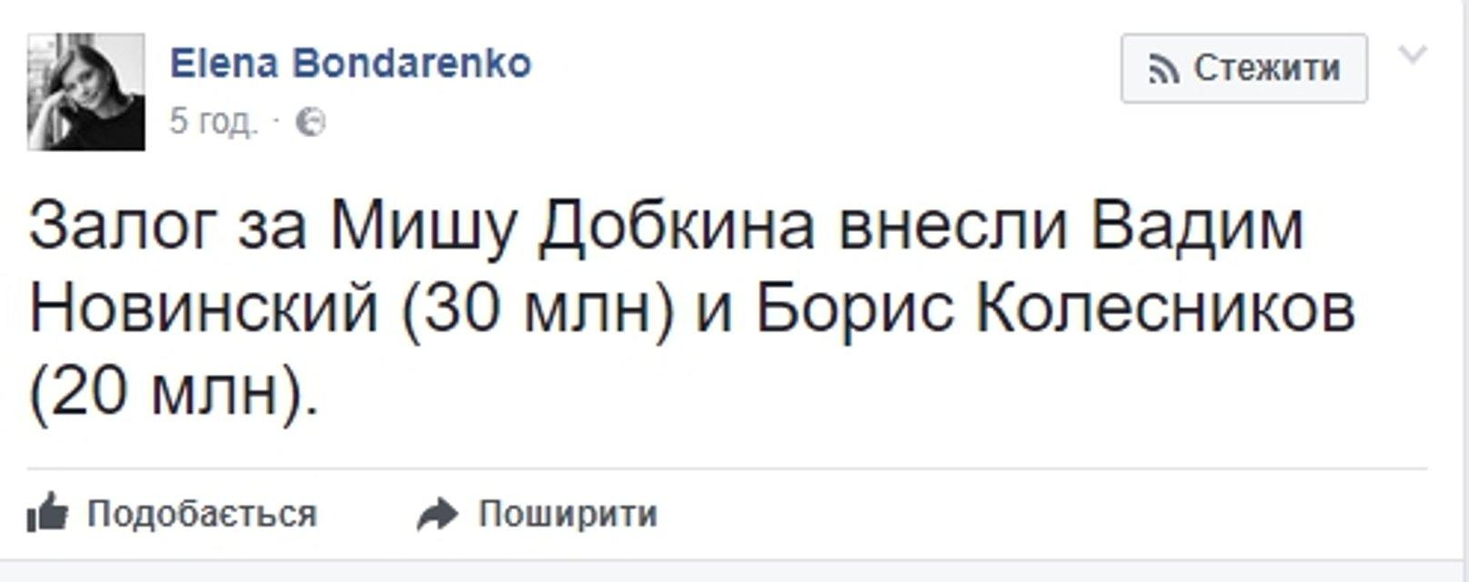 Вторую часть залога за Добкина внес соратник Януковича - фото 58859