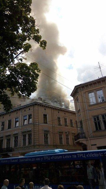 В центре Львова горел дом - фото 58207