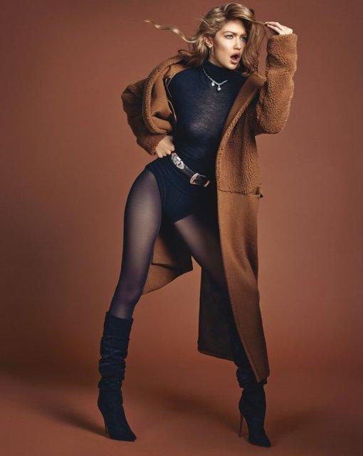 Белла Хадид показала грудь и стройные ноги на обложке Vogue - фото 68486