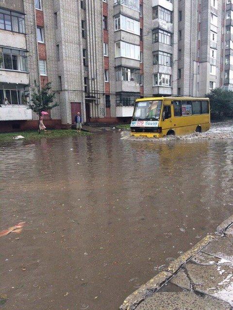 Улицы Львова затопило водой и засыпало крупным градом - фото 67566