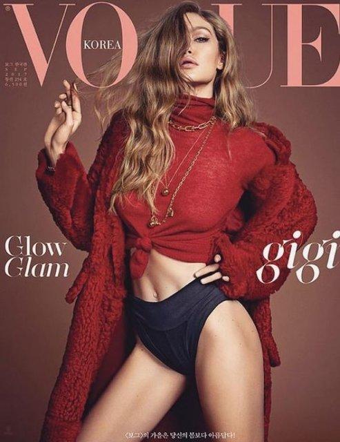 Белла Хадид показала грудь и стройные ноги на обложке Vogue - фото 68478