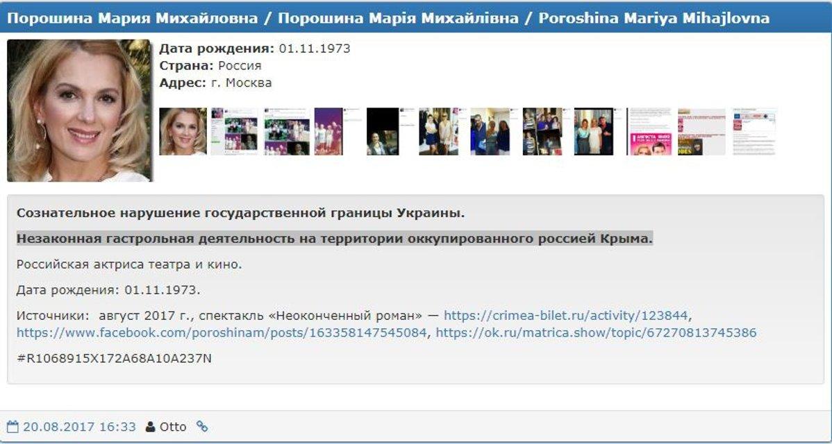 В базу Миротворца попала Мария Порошина - фото 68330