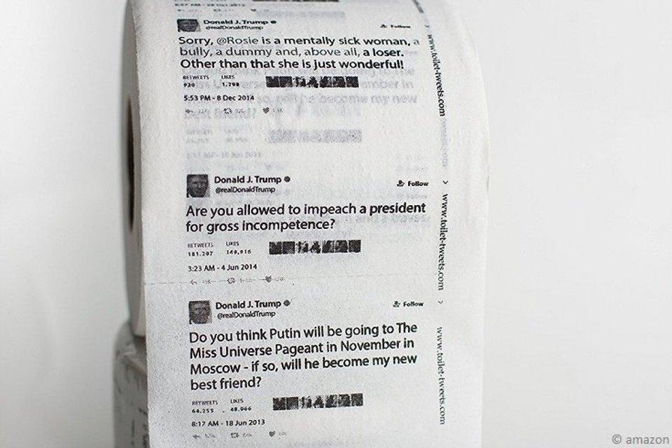 Туалетная бумага с твиттами Трампа набирает популярность - фото 63803