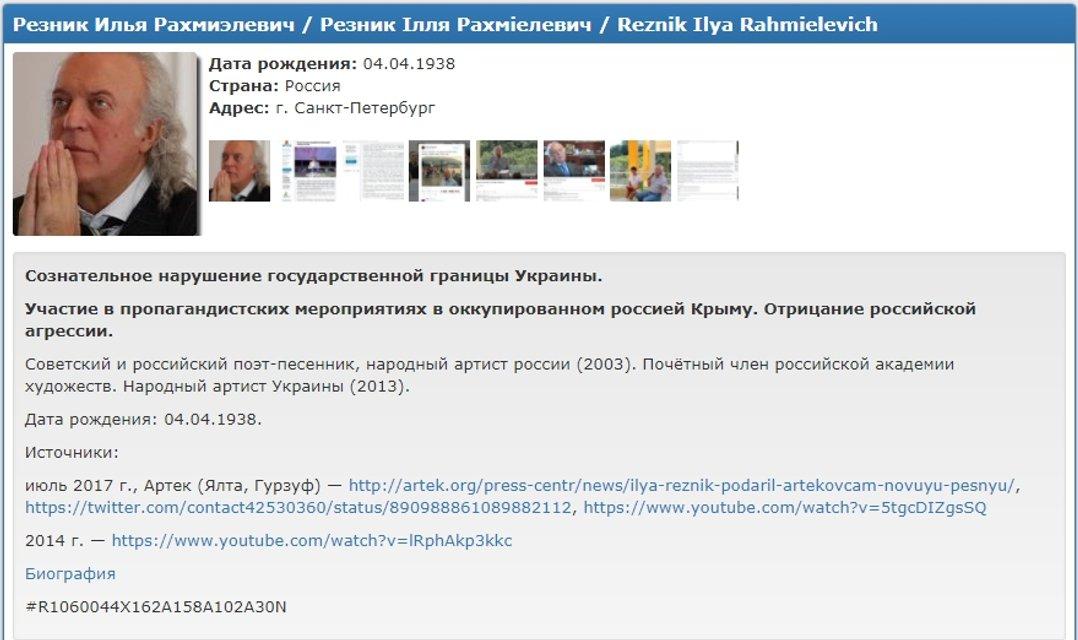 Илья Резник попал в базу Миротворца - фото 63642