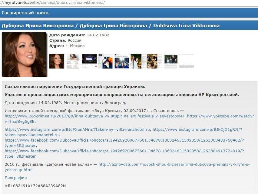 Экс-судья Х-фактора Ирина Дубцова попала в базу Миротворца - фото 73770