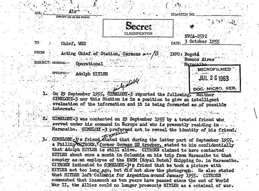Согласно рассекреченным документа ЦРУ, Гитлер сбежал в Латинскую Америку - фото 85823