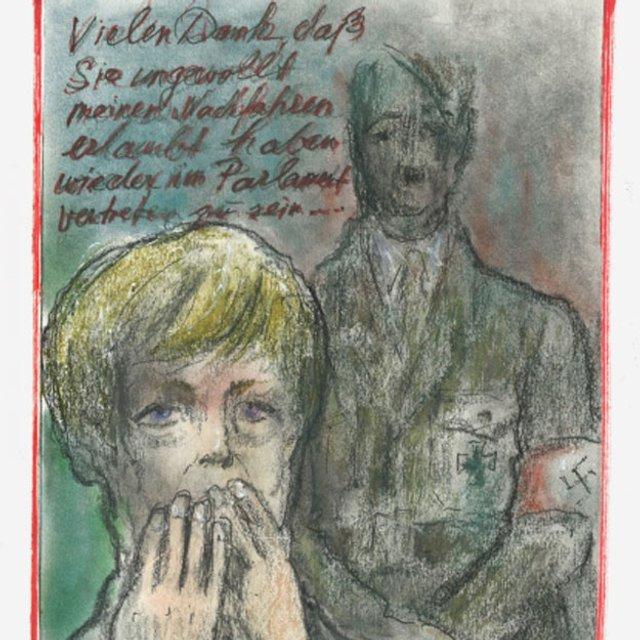 Карл Лагерфельд от имени Гитлера поблагодарил Меркель - фото 81151