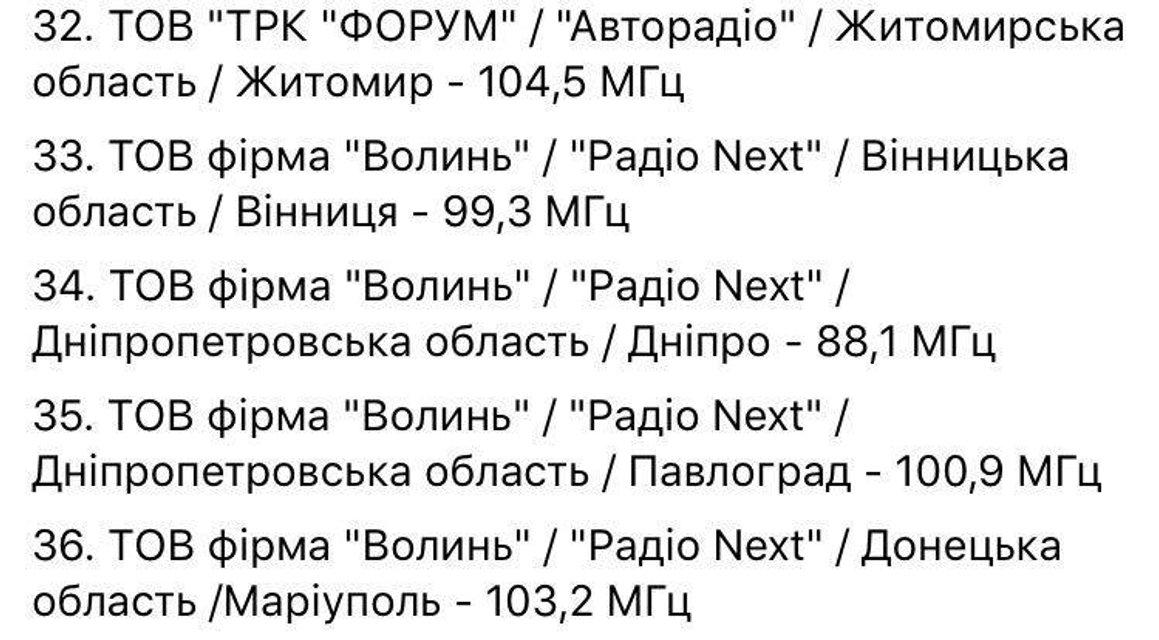 Скриншот записи со списком радиостанций, которым не продлили лицензии - фото 83396