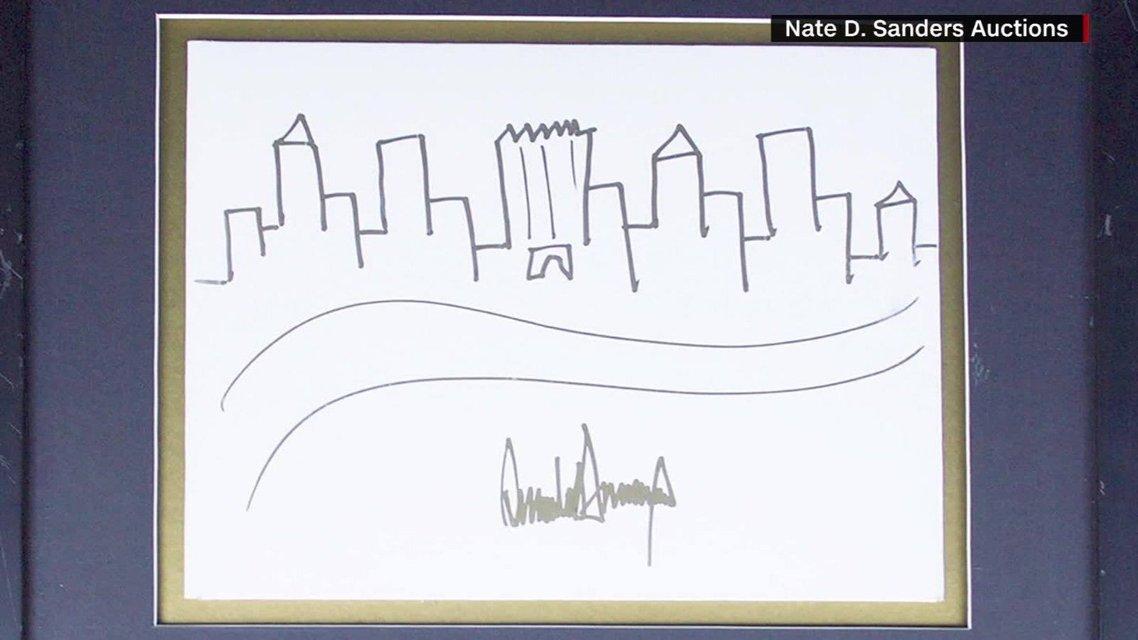 Рисунок Дональда Трампа с видом наМанхэттен - фото 83452