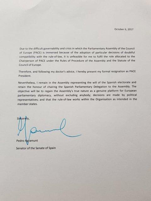 Глава ПАСЕ Аграмунт ушел в отставку - фото 79433