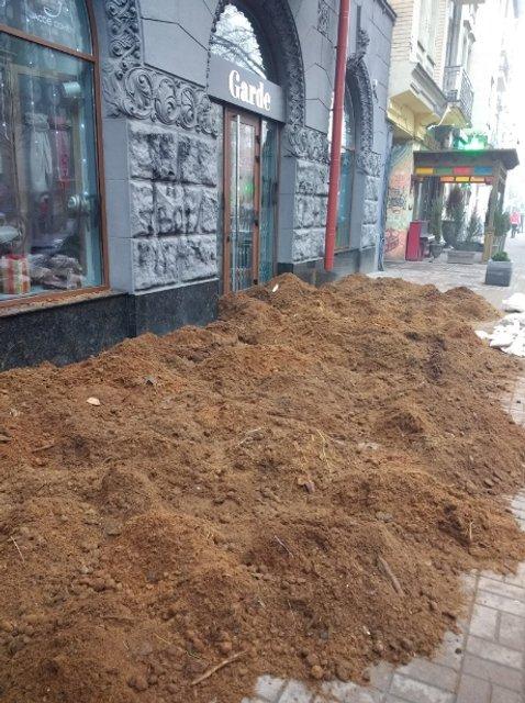 Неизвестные в центре Киева стеной навоза заблокировали элитный бутик - фото 97236