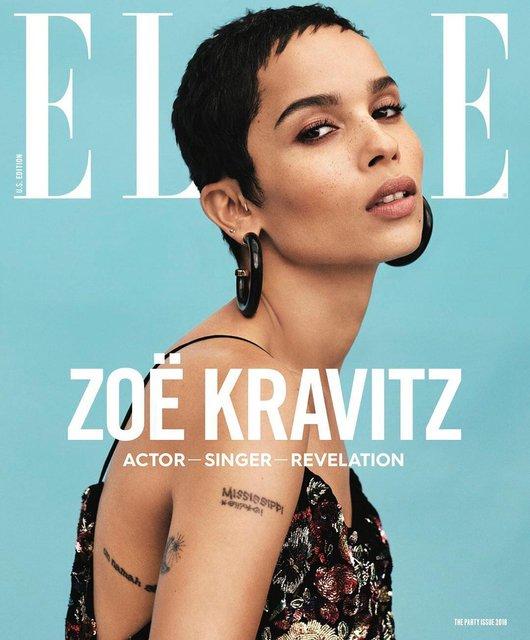 Актриса Зои Кравиц продемонстрировала глубокое декольте на обложке глянца - фото 95019