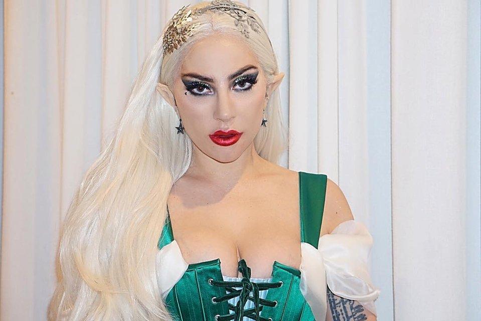 Леди Гага в костюме из секс-шопа отметила Рождество со своей командой - фото 96771