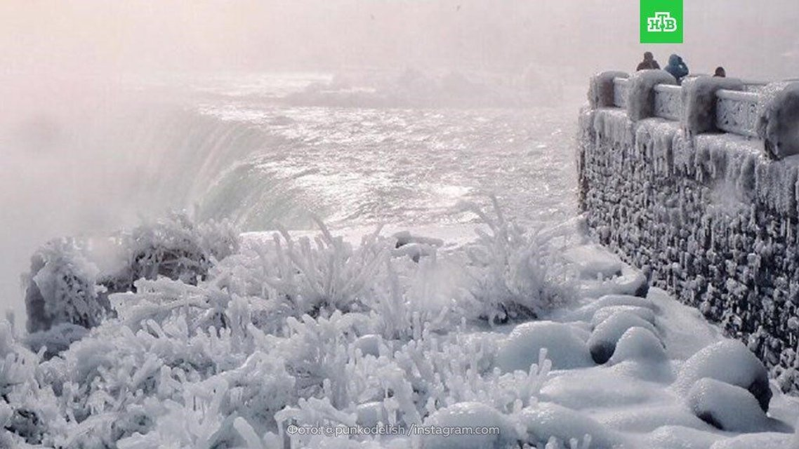 Замерзший Ниагарский водопад - фото 100267