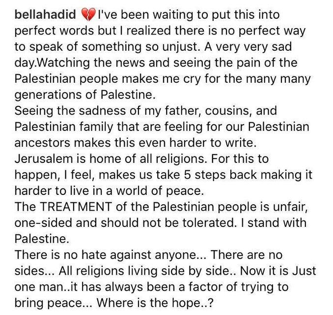 Скриншот записи Беллы Хадид в инстаграм - фото 96056