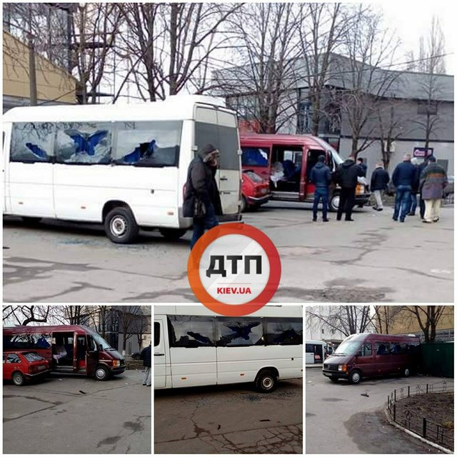 Неизвестные расстреляли автобусы у центрального вокзала Киева - фото 106220