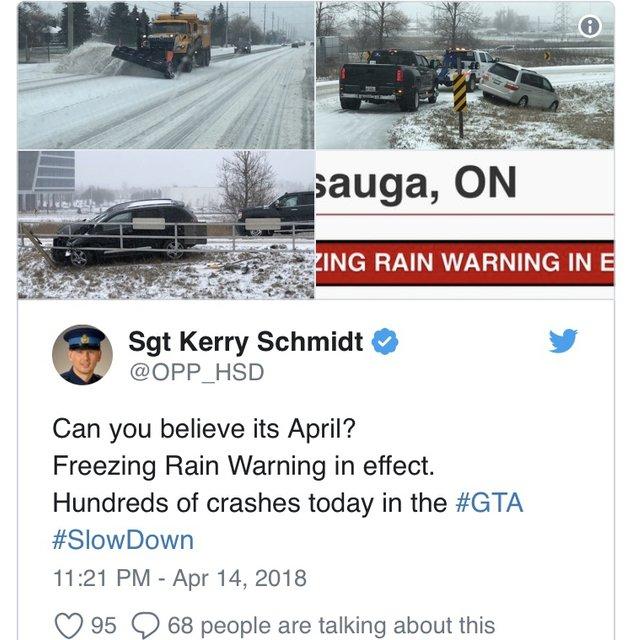 Торонто засыпало снегом и залило дождем: сотни ДТП и отмена авиарейсов - фото 119642