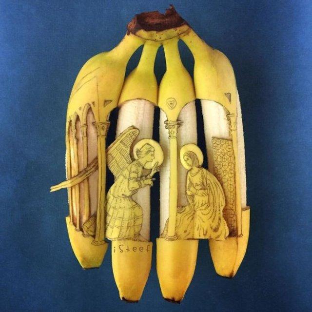 Художник из Нидерландов создает картины на шкурках бананов(фото) - фото 118323
