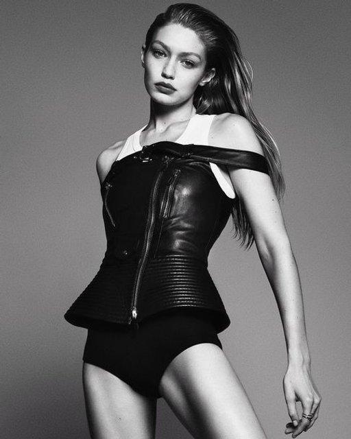 Латекс и кожа: Джиджи Хадид снялась в пикантной съемке для Vogue - фото 120698
