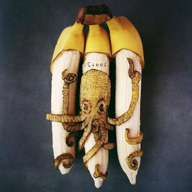 Художник из Нидерландов создает картины на шкурках бананов(фото) - фото 118324