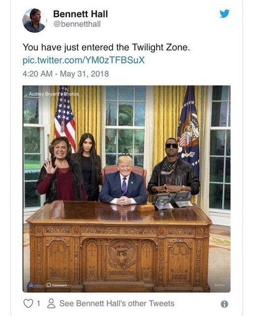 Пользователи затроллили фото со встречи Кардашьян и Трампа - фото 128138