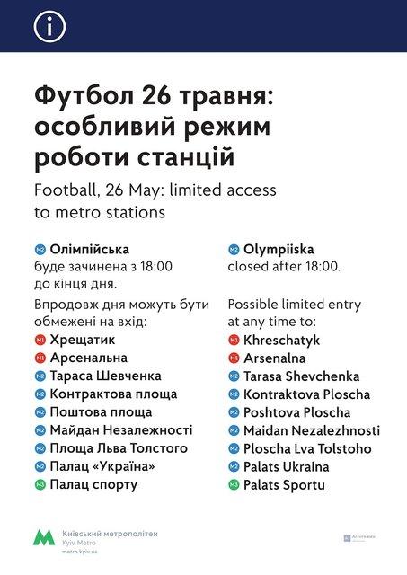 Киевское метро изменило график работы из-за Лиги чемпионов - фото 127414