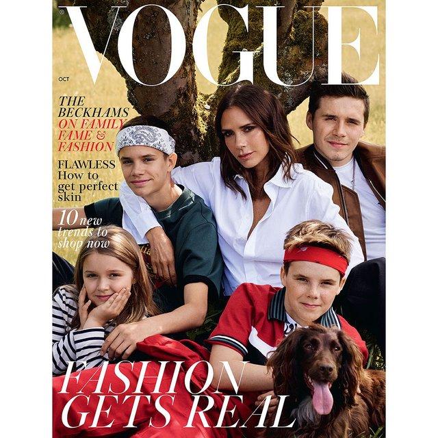 Семейство Бекхэмов появилось на обложке модного глянца - фото 145191