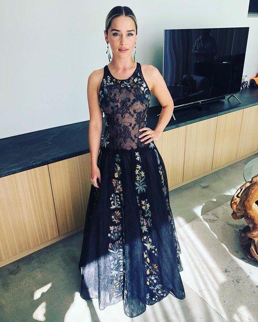Эмми-2018: Эмилия Кларк в прозрачном платье блеснула на красной дорожке - фото 148166