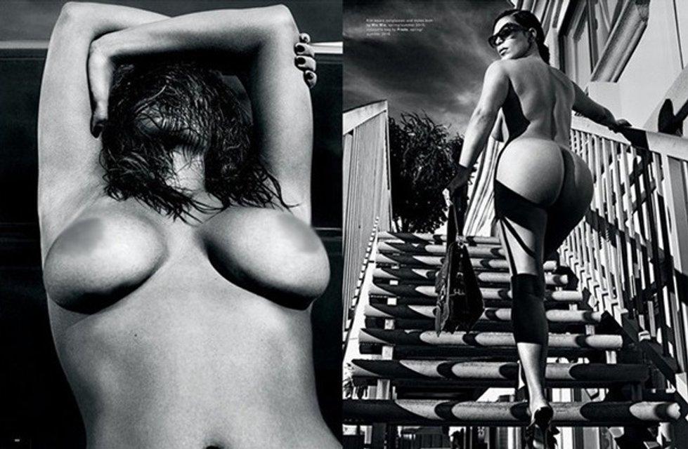 Ким Кардашьян разделась для обложки модного глянца и рассказала о сексе и сексуальности - фото 154512