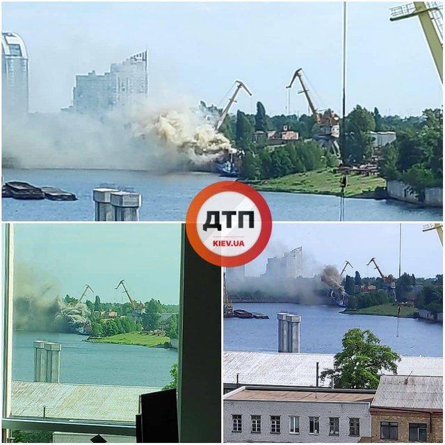 В Киеве на бывшем заводе Порошенко горит разведывательный корабль ВМС (ФОТО+ВИДЕО) - фото 181782