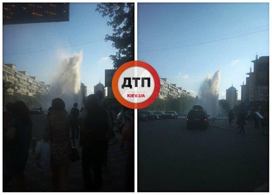 Фонтан Кличко: коммунальщики испытывали трубы и сломали новую дорогу (ВИДЕО) - фото 182893