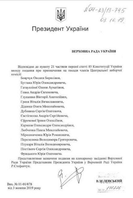 Зеленский подал в Раду список нового состава ЦИК - фото 188979