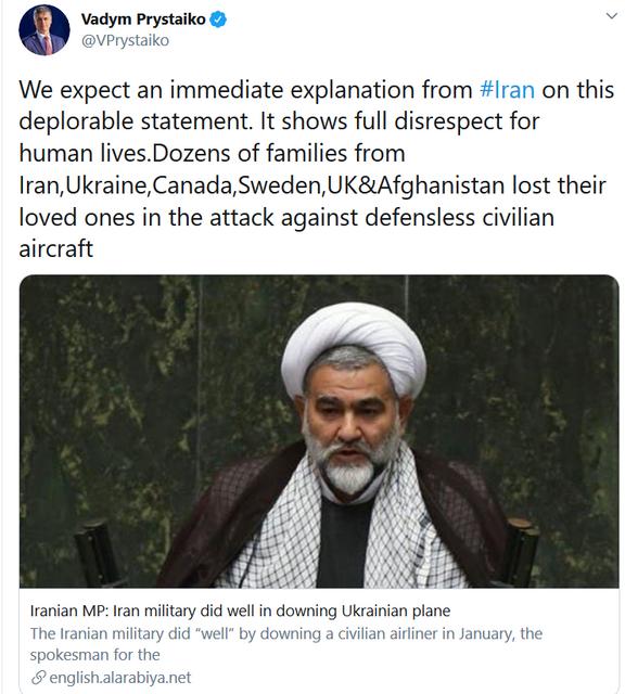 В Иране назвали гибель лайнера МАУ 'хорошей работой', Украина требует объяснений - фото 198317