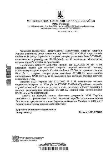 С апреля из антикоронавирусного фонда не купили ни одного аппарата ИВЛ - фото 203609