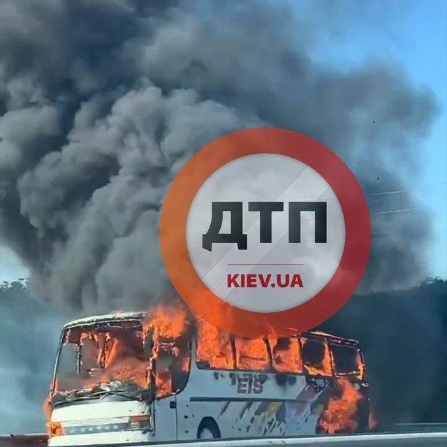 На трассе 'Киев-Одесса' сгорел автобус – ФОТО, ВИДЕО - фото 204827