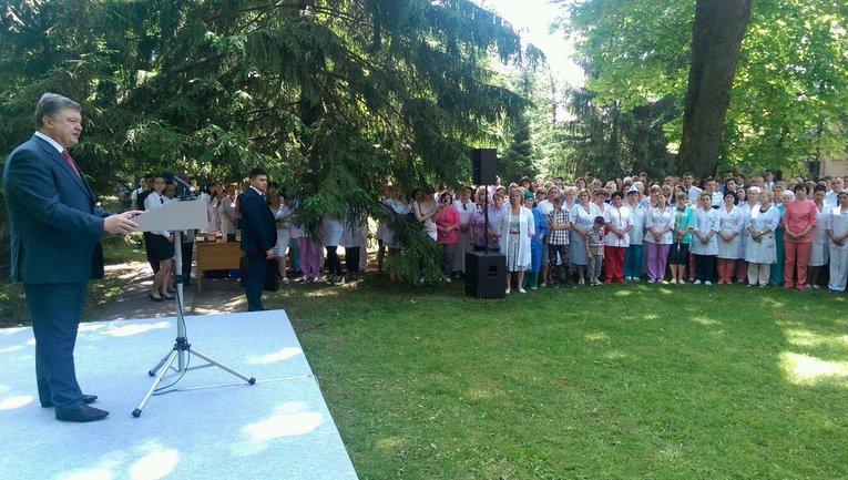 Порошенко выступил в военном госпитале Министерства обороны - фото 1