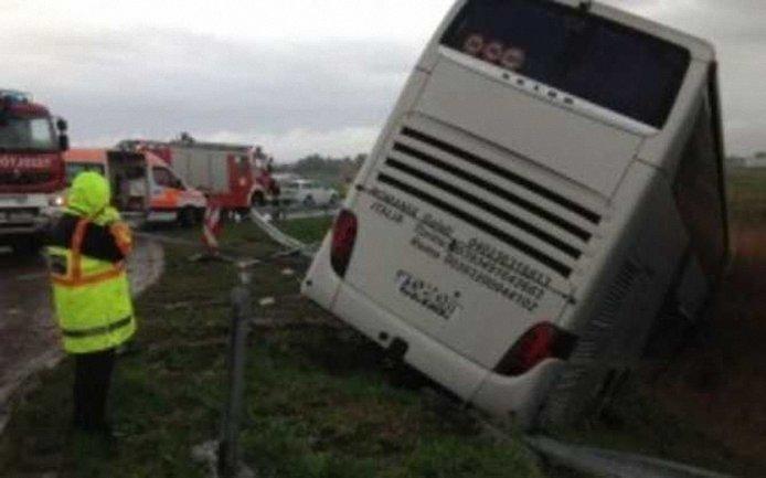 Автобус съехал с трассы и остановился в кукурузном поле - фото 1
